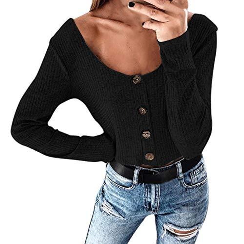 Hulky vendita di liquidazione donna bottoming t-shirt manica lunga sexy girocollo pulsante slim camicetta top(nero,small)