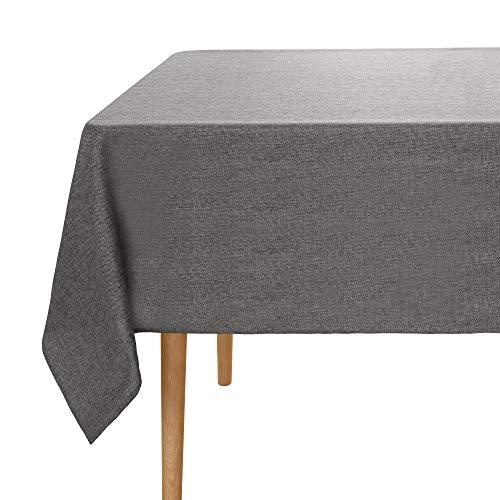Umi.Essentials Tischdecke Leinenoptik Wasserabweisend Tischtuch Lotuseffekt 137x200 cm Grau