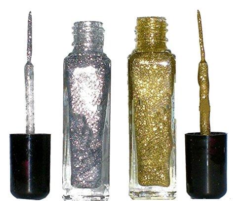 Set:Nailart Fineliner, je 8 ml:Glitter Silber + Glitter Gold. Auf Nagellack - Lackbasis. Nicht Wasserlöslich Gold-silber-nagellack