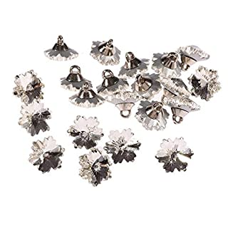 20 x Acrylic Clear Crystal Round Buttons Diamante Sew on Dress Making