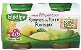 Blédina Mon 1er Petit Pot Pommes de Terre Poireaux dès 4/6 mois 2 x 130 g - Lot de 6