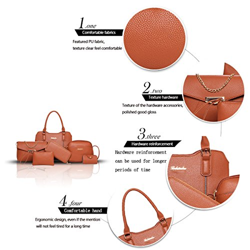 Sunas 2017 nuove borchie della borsa delle donne 6 insiemi di modo delle cuciture delle donne dei pattini hanno colpito il raccoglitore diagonale della spalla di colore della spalla Marrone