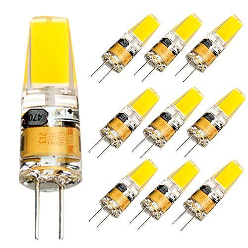 10er Pack G4 LED Lampen, 3W Birnen Äquivalent 20W Halogenlampen, Kaltweiß 12V AC/DC COB Leuchtmittel, 180LM Kein Flackern Nicht Dimmbar 360° Lichtwinkel G4 Licht, Stiftsockellampe Glühbirnen -