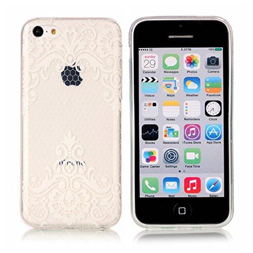 iPhone 5C Hülle, E-Lush TPU Soft Silikon Tasche Transparent Schale Clear Klar Hanytasche für iPhone 5C Durchsichtig Rückschale Ultra Slim Thin Dünne Schutzhülle Weiche Flexibel Handyhülle Kratzfeste S Spitze Blumen nach unten