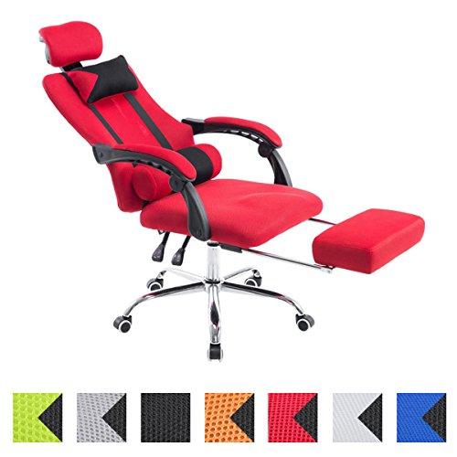 CLP Relaxsessel Fellow mit hochwertiger Polsterung und Netzbezug I Drehstuhl mit Laufrollen und Kopfstütze I Höhenverstellbarer Bürostuhl mit Fußablage I erhältlich Rot