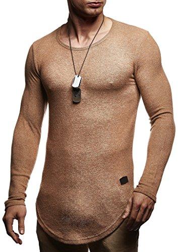 LEIF NELSON Herren Pullover Kapuzenpullover Hoodie Longsleeve Sweatshirt tiefer Rundhals Ausschnitt Jacke Langarm Shirt Sweatjacke LN8119; Größe M, Beige  