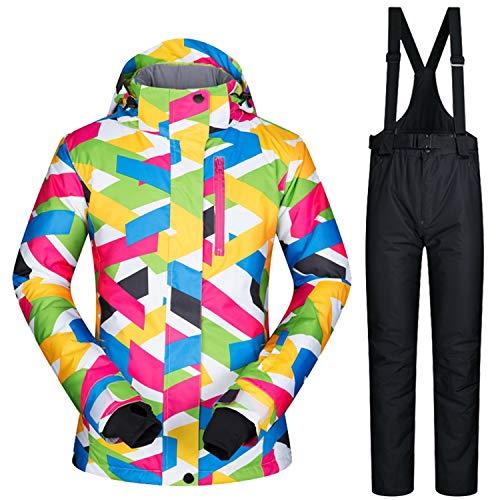 Damen Skianzüge Winter wasserdicht Warmhalten Bergsportanzüge Jacken Furnier Double Board Skikleidung, S, Farbe + Schwarz | 09640378218389