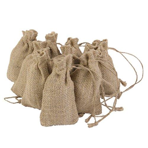 (Kleine, braune Jute-Säckchen mit Kordelzug von Ueetek, 10er-Packung, tolles Hochzeitsgeschenk)
