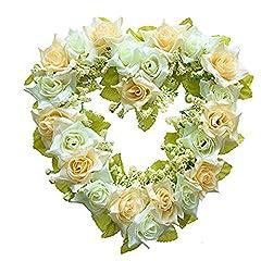Idea Regalo - LinTimes, ghirlanda a forma di cuore fatta a mano, con fiori finti, ideale come decorazione per casa, auto, porte e matrimoni