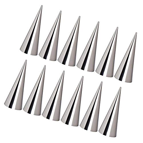 Favson 12PCS Stainless Steel Baking Cones DIY Pastry Cream Horn Moulds Conical Tube Cone Pastry Roll Horn Mould Baking Denmark Large Coil Mold Tool - Large Size