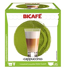 Order 96 (6x16 Capsule Packs) BiCafe ® Cappuccino Dolce Gusto ® Compatible Coffee Capsules by BiCafe