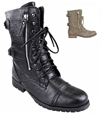 Militärstiefel, Women's Lace-Up shoes, with zip, Slouch / Biker, Punk GRUFTI-/Ankle Boots Black Size: 5.5