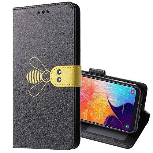 Nadoli Leder Hülle für Huawei P30 Pro,Elegant Lustig Biene Seide Muster Premium Leder Lanyard Standfunktion Brieftasche Schutzhülle für Huawei P30 Pro -