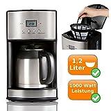 Filter Kaffeemaschine mit 2 Thermoskannen je 1,2 Liter - Timerfunktion + Warmhaltefunktion - hält den Kaffee lange frisch, ideal auch für Familienfeiern - Elegantes Design