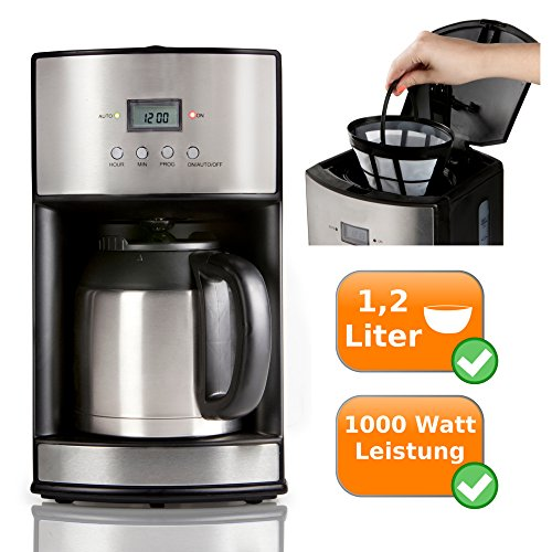 Filter Kaffeemaschine mit 2 Thermoskannen je 1,2 Liter - Timerfunktion + Warmhaltefunktion - hält...