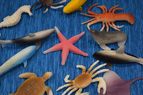 Asian Hobby Crafts Plastic Animals Set of 12pcs : Aquatic Type : for Model Making, School Projects, Collectibles etc (Aquatic) (Aquatic)