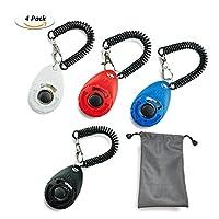 TedGem 4 pcs Dog Training Clicker avec poignet Chien Cat Horse Bird Pet Training Clickers Set + LIVRE petit sac, 4 couleurs