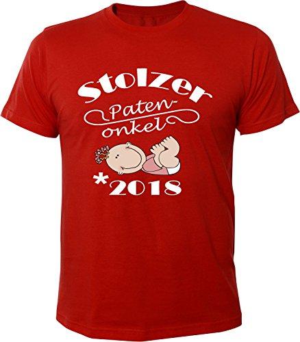 Mister Merchandise Herren Men T-Shirt Patenonkel - 2018 Tee Shirt bedruckt Rot