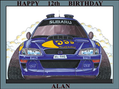 198-subaru-mcrae-rally-car-98-koolart-0198-personalised-10-x-75-icing-cake-topper-any-name-age-or-me
