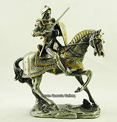 Medieval Mounted Knight in Light Horse Armour Figurine Statue Horse Jousting Pewter / Lead Ornament | 7690