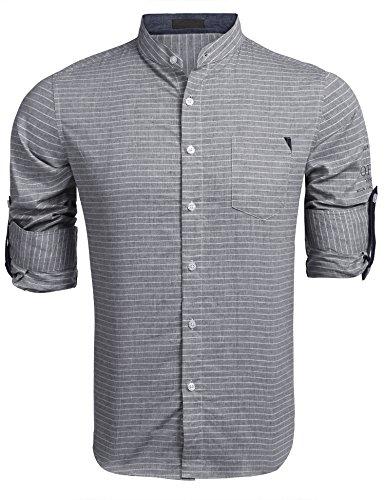 Burlady Hemd Herren Langarm Trachtenhemd Stehkragen Hemden Freizeit Hochzeit Business Dunkle Grau XXL