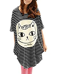 Allegra K Women's Casual Striped Batwing Sleeve Oversize Tunic Tops T-shirts
