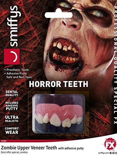 Smiffys Dientes de Terror, con Coronas dentales Superiores, Color Natural, con plástico