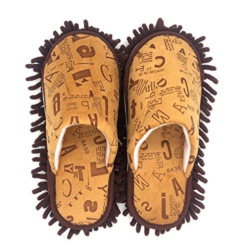 Selric® Letra del alfabeto Zapatillas Mopa Café, Zapatos Desmontables y Lavables Para Mujer , Casa zapatillas de interior estar 25cm [tamaño EU:36-39]