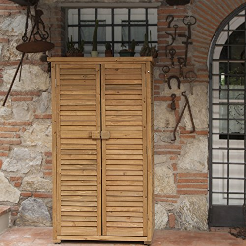 Armadio in legno da esterno 82x42x160 solido jarsya accessori giardino piscina - Armadi per esterno in legno ...