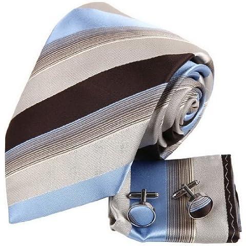 YAC2A01 boda bastante rayada corbata regalo seda Gemelos pa?uelo Set 3PT por Y&G