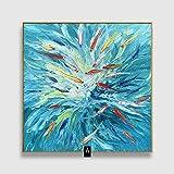 ZXJYH Reine Hand-Painted Schöne Fische Muster Öl Malerei Sofa Im Wohnzimmer An Der Wand Malen Rahmenlose Home Deko Wandbild, 30 X 30 cm