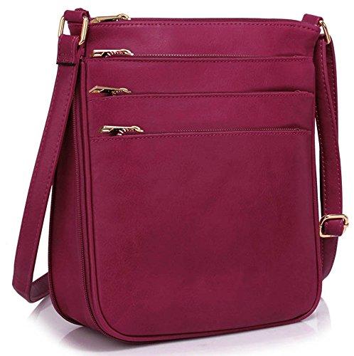 LeahWard® Genuine Umhängetasche Damen Essener Kunstleder Taschen Qualität Mode Essener nett Groß Handtaschen Lila 3 Reißverschluss