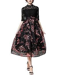 Dolamen Mujer Vestidos, perspectiva de malla de impresión de flores vestido largo, 3/4 manga de una línea de vestido de encaje de la tarde, para el partido de noche y la boda