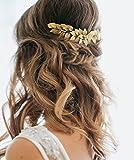 Aukmla Peigne de mariage avec feuilles dorées et strass, accessoire capillaire pour mariée et demoiselle d'honneur