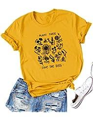 DRESSWEL Women Save The Bees Letter Print T-Shirt Crew Neck Short Sleeve Shirt Plants Graphic Tops
