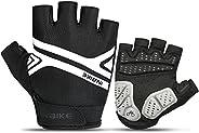 INBIKE Mountain Bike Gloves, Cycling Gloves Half Fingers MTB DH Road Riding Bicycle Biking Men Women Black Lar