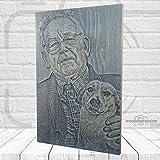 Wood Expression Cuadro Grabado de Madera Natural Personalizado con tu fotografía tamaño 30x20 cm. (Cobalto)