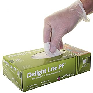 1 CASE 10 x Boxes of Aurelia Delight Lite Clear Powder Free Vinyl Latex Free Disposable Gloves