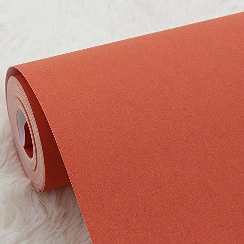 Zhzhco Verdickte Grünen Ebene Farbe Orange Vliestapeten Tapete Schlafzimmer Wohnzimmer Orange 0,53 M X X X X X X X M10 Nicht Selbstklebende