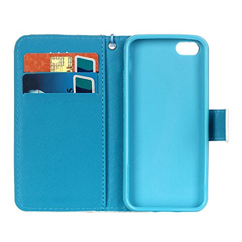 iPhone SE Flip Cover, iPhone 5 Handyhülle, iPhone 5S Case,Moon mood® Flip Case Brieftasche für Apple iPhone 5/5S/SE (4.0 Zoll) ,PU Leder Hülle Wallet Case Folio Schutzhülle Scratch Design Bumper Handy Traumfänger