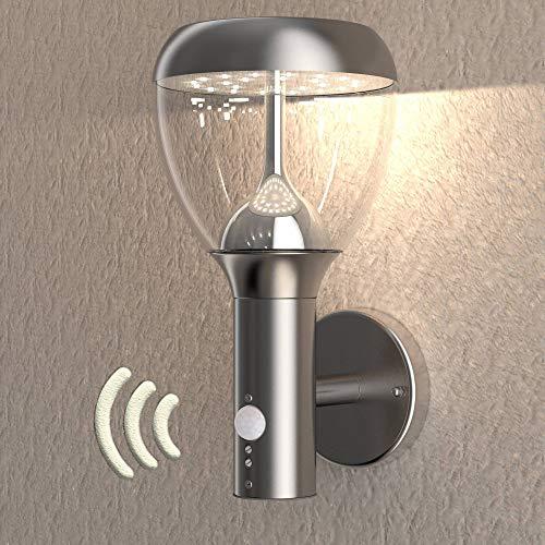 NBHANYUAN Lighting® LED Außenleuchte mit Bewegungsmelder und Dämmerungsschalter Aussenwandlampen Silber Edelstahl 3000K Warmweiß Licht 220-240V 1000LM 9.5W IP44 (mit PIR Sensor) -
