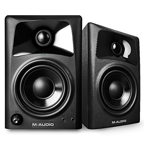 M-Audio AV32 Compact Active Desktop Computer Monitor Speakers (Pair) for PC Speaker Playback, Media Creation and Immersive Gaming Sound