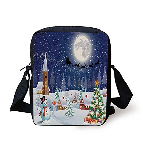 s,Winter Season Snowman Xmas Tree Santa Sleigh Moon Present Boxes Snow and Stars,Blue White Print Kids Crossbody Messenger Bag Purse ()