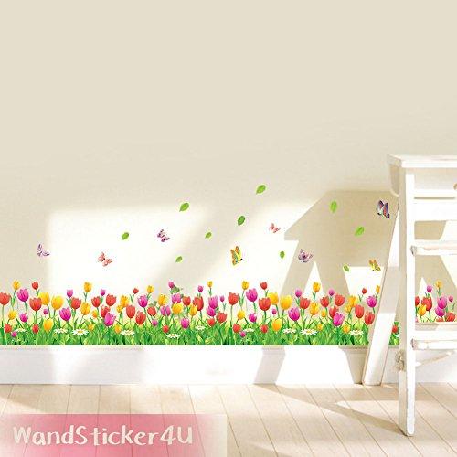 wandsticker4u-wandtattoo-tulpenwiese-in-2er-set-breite-228-cm-tulpen-blumenwiese-schmetterlingen-gru