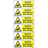 6 CCTV Camera in operation Vehicle signs 8x3cm, car taxi bus decals Adhesive Vinyl Stickers (White Vinyl)