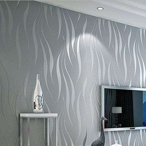 Wave-Kurve Streifen 3D Stereo-Vlies-Tapete (Color : Silver Grey) -