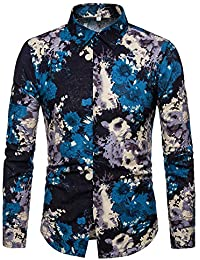 BUSIM Men's Long Sleeve Shirt Autumn Personality Print Trend Fashion Casual Lapel Button T-Shirt Tops Comfortable...
