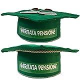 Pensione tocco in feltro verde con scritta meritata pensione per festa pensione