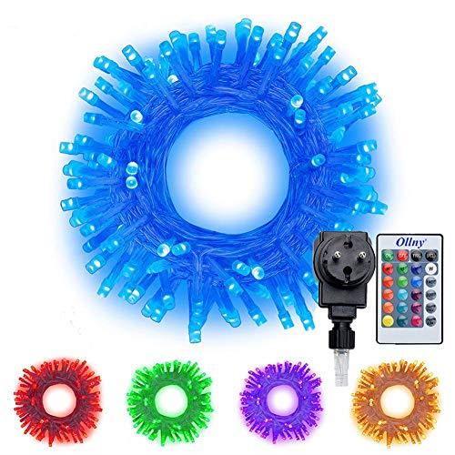 RGB LED Lichterkette 20M 200 LEDs Ollny LED Lichterkette 16 Farben 4 Modi mit Fernbedienung & Timer für Weihnachten Partydekoration Geburstag Hochzeit Wohnzimmer Kinderzimmer