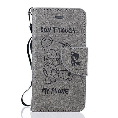 iPhone 5 SE 5S Custodia in pelle,iPhone 5S Cover Portafoglio Elegante,Felfy Puro Colore Premium Simpatico Panda Stampato Modello Copertura di Vibrazione pelle a Libro Bookcase Pieghevole pelle Cover c Orso Grigio